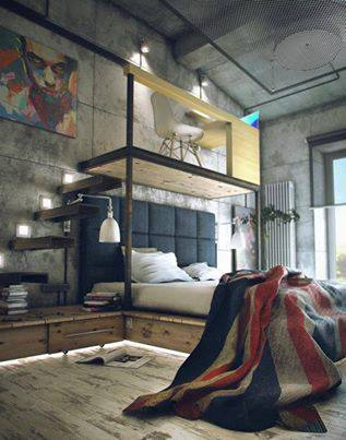 Photo of camera da letto nel loft, davvero bella