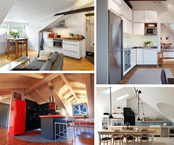Cucina in mansarda idee e progetti da copiare per la for Arredamento per piccoli ambienti