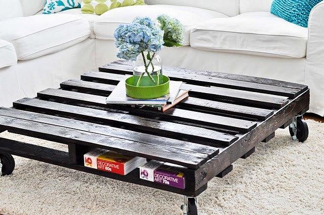 tavolino pallet per arredare il soggiorno con stile ecologico