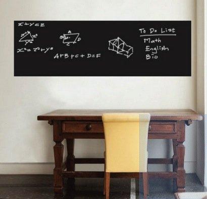 Walplus - Grande lavagna nera, sui cui scrivere con gessetti, adesiva a parete, 45 x 200 cm