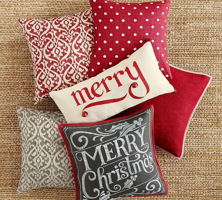 Addobbi natalizi di design - cuscini pottery barn