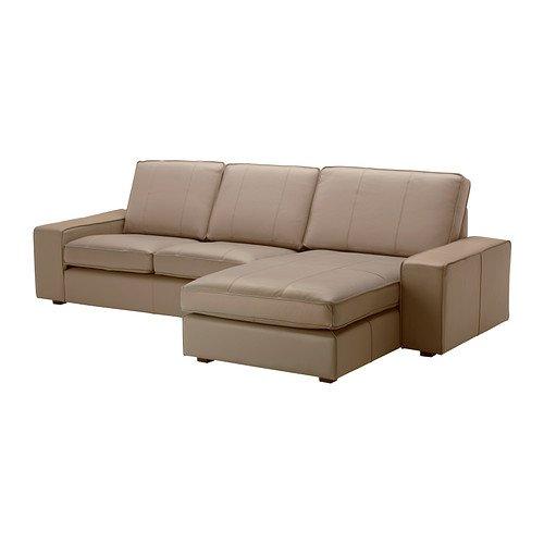 Divani angolari Ikea in pelle - kivik-divano-a-2 posti-e-chaise-longue-beige