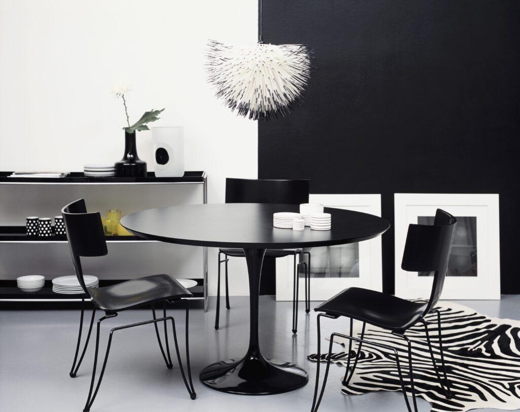Living arredato in colore Black&White