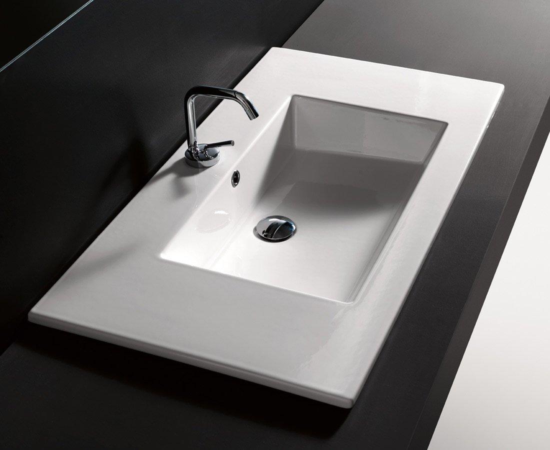 Lavabo da incasso per il bagno materiali e forme delle - Lavello bagno appoggio ...