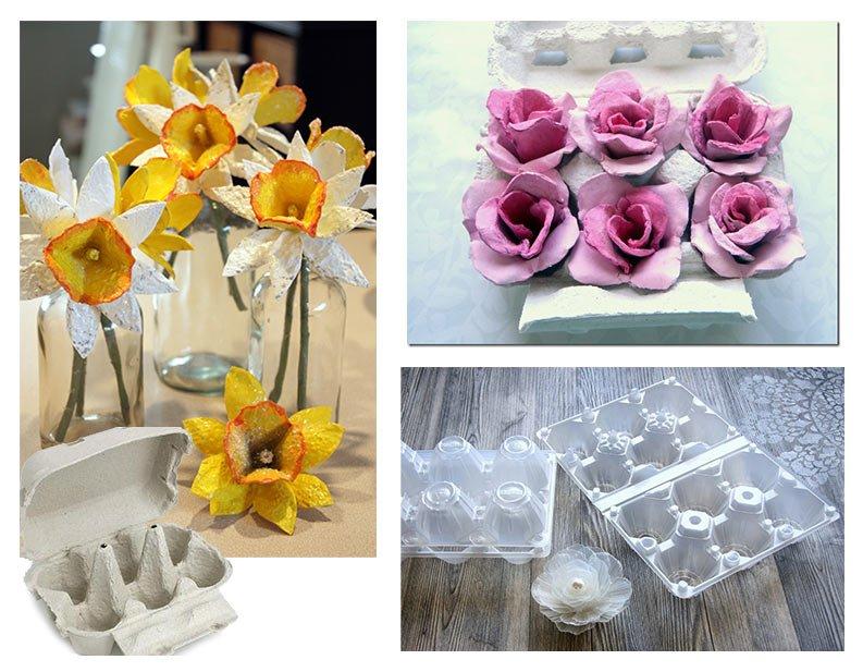 fiori finti per riciclare il portauova