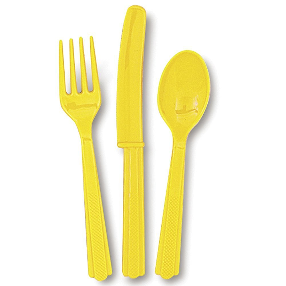 giallo posate in plastica