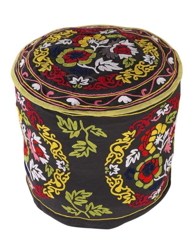 pouf Boho Décor nero ottomano tradizionale