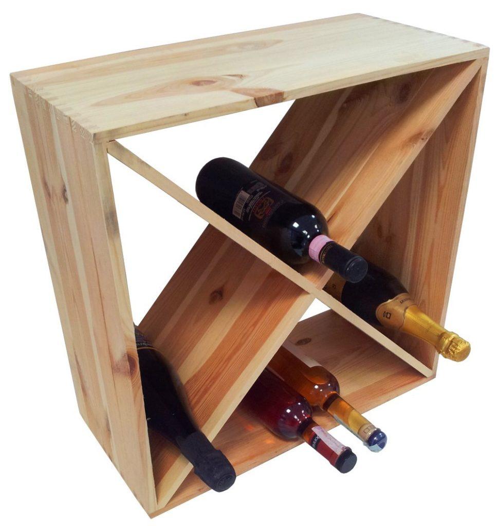 porta vino in legno chiaro