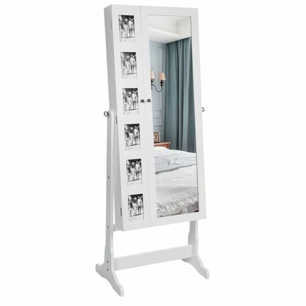 specchio portagioie songmics bianco