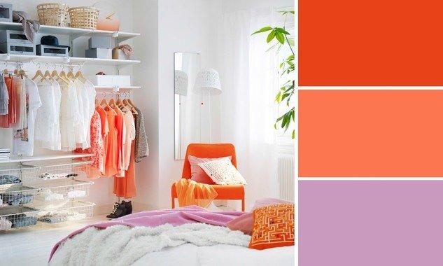 camera da letto di colore arancione