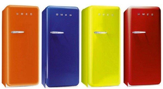 frigorifero a vista freestanding colorato
