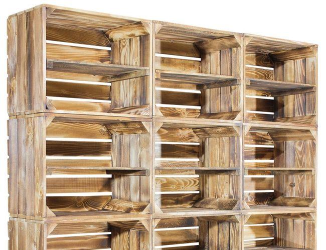 scarpiera con cassette di legno