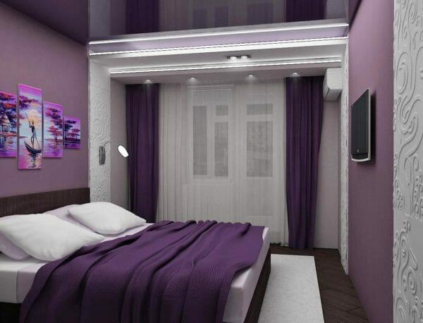 camera da letto colore viola