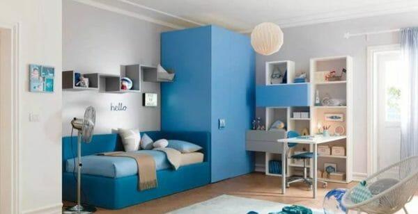camera bambini color azzurro