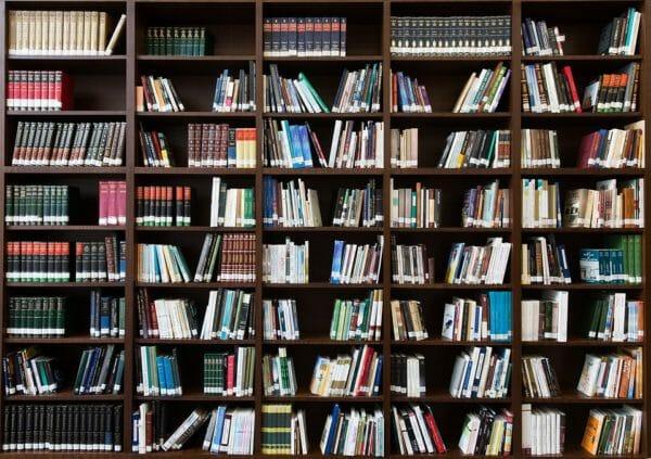 Libreria in legno massello a parete