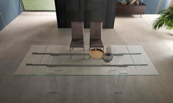 Tavolo allungabile in cristallo Riflessi